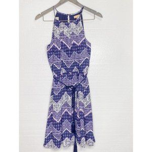 Takara Purple Blue Belted Dress With Flowers